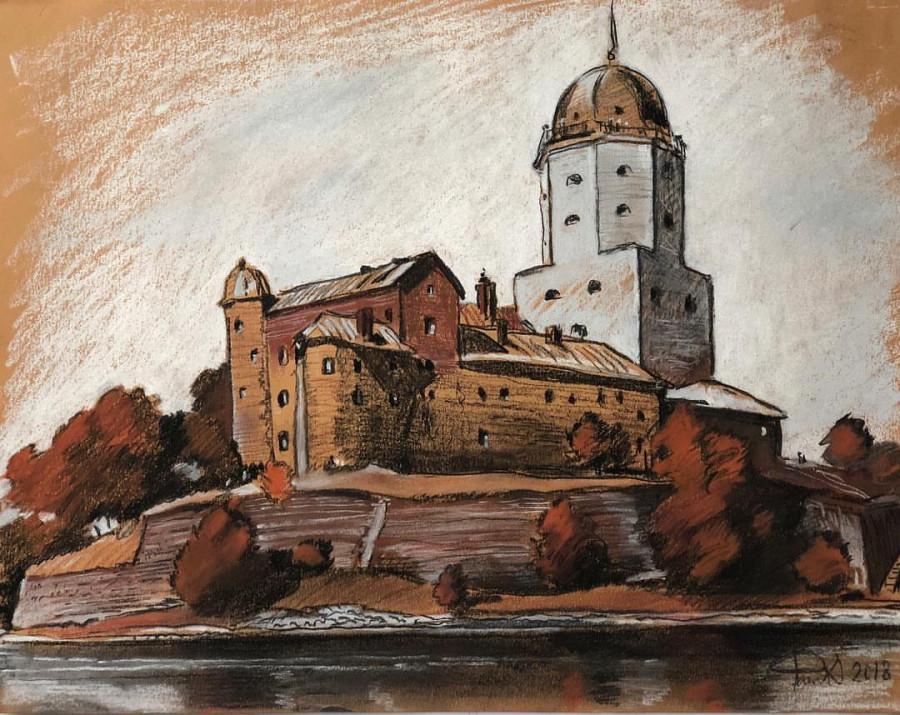 выборгский замок почтовая открытка левой