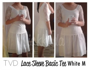thevelvetdolls lace sleeve basic top white