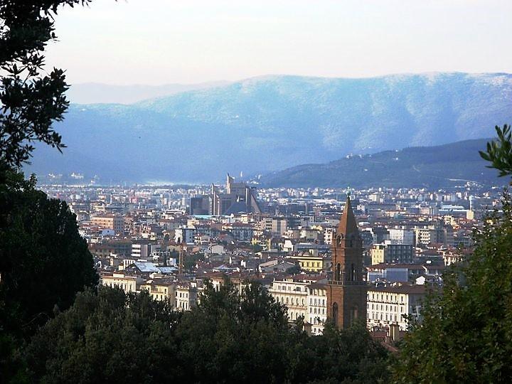 Вид со смотровой площадки на город.