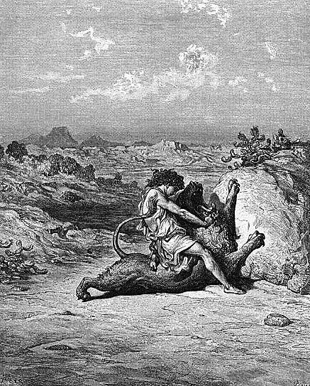 Гравюра. Самсон, убивающий льва