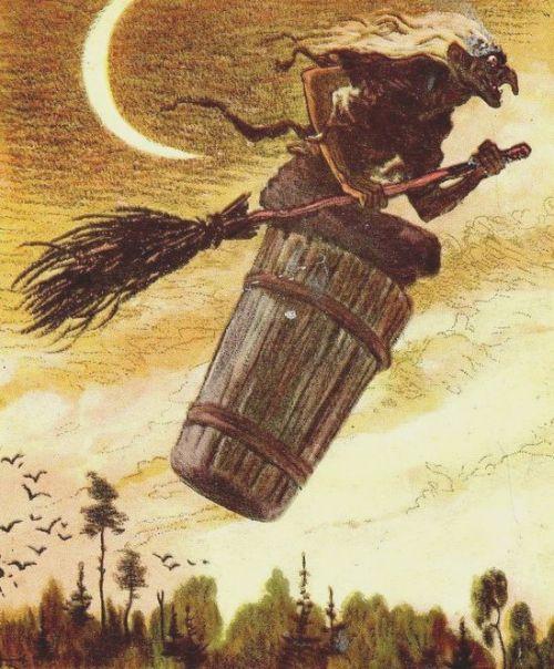 Баба-Яга колесит по белу свету в ступе