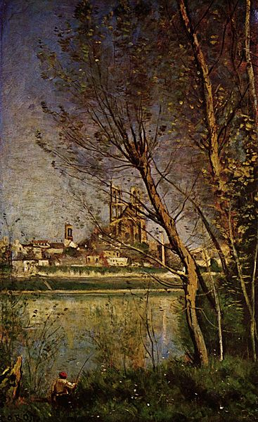 Jean-Baptiste-Camille_Corot_-_Cathedral_of_Mantes,_with_Fisherman