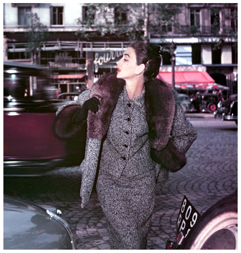 dorian-leigh-champs-elysees-for-elle-winter-collection-lanvin-castillo-paris-1953-photo-georges-dambier