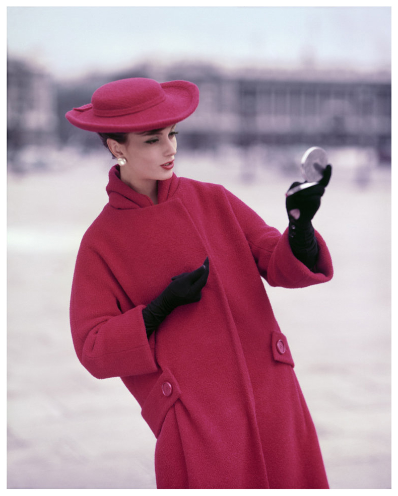 girl-in-red-at-the-concorde-place-for-elle-winter-collection-paris-1957-photo-georges-dambier