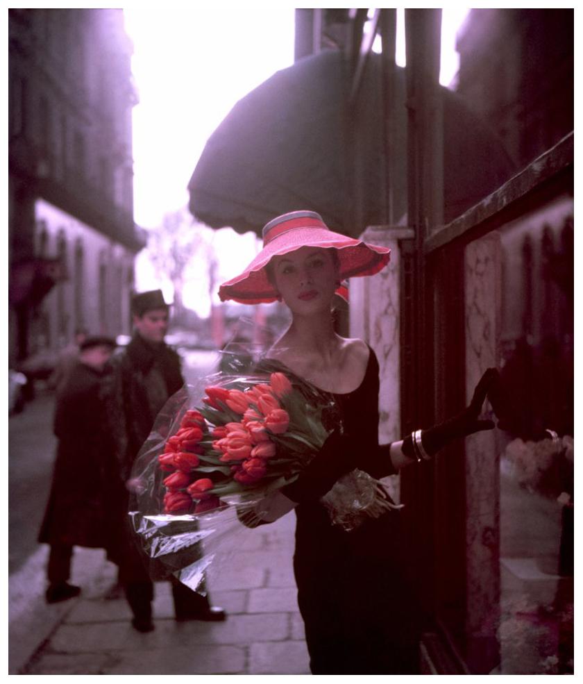 suzy-parker-tulip-for-elle-spring-collection-paris-1953-photo-georges-dambier