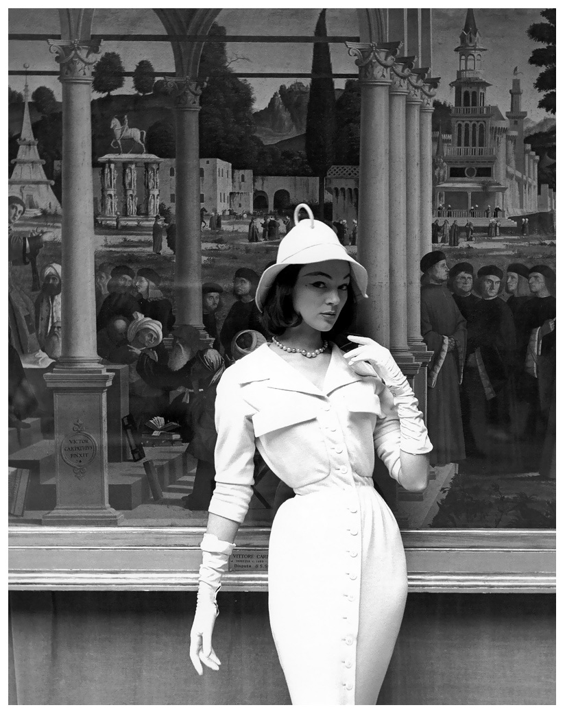 ivy-nicholson-in-slim-jersey-dress-and-soft-brimmed-hat-by-jacques-fath-at-the-musc3a8e-de-lorangerie-photo-by-georges-dambier-elle-march-29-1954