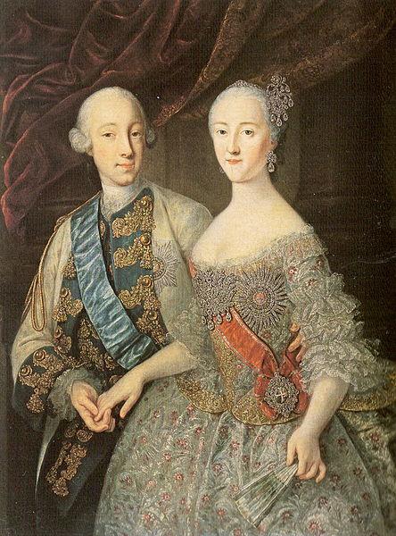 Пётр и Екатерина совместный портрет работы Гроота