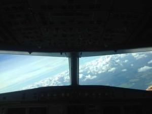 из кабины пилотов