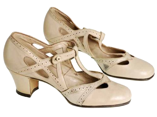 1920s-Beige-Leather-strap-Heels-Womens-Shoe