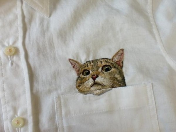кот рубашка вышивка