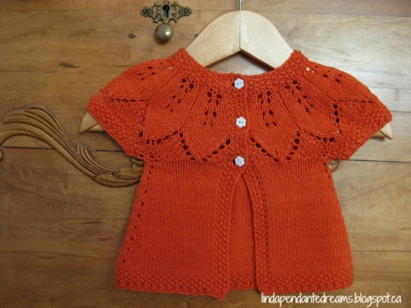 Finished Baby Girl Floral Lace Top Down Cardigan Knitting