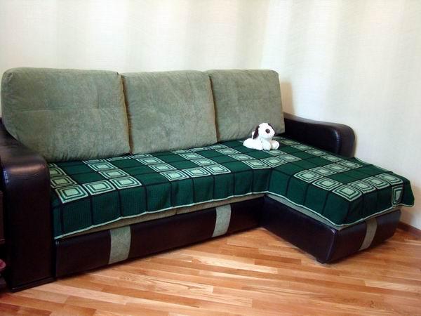 Покрывало на диван угловой своими руками фото