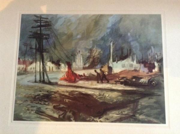 SEBESCH brennt Pleskau - Kunstblatt PK Mahlmann - Wehrmacht - Ostfront 1941