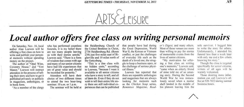 Gettysburg Times Article