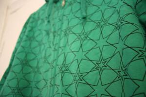 green hoody detail