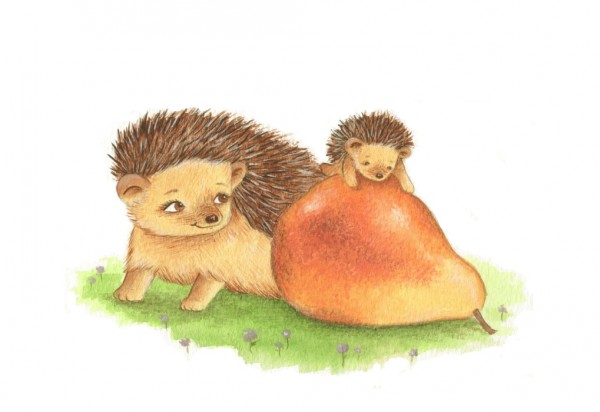 hoggy and mummy and pear