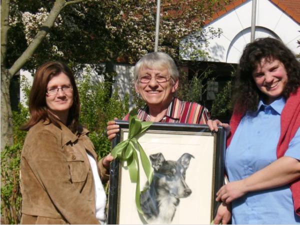 Jubilarin Inge Harth mit Martina Ramm und Manuela Schaffert