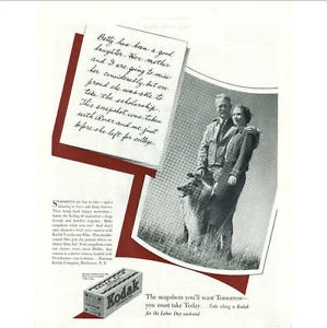 1936 Kodak колли ласси собака verichrome фильм рекламный плакат