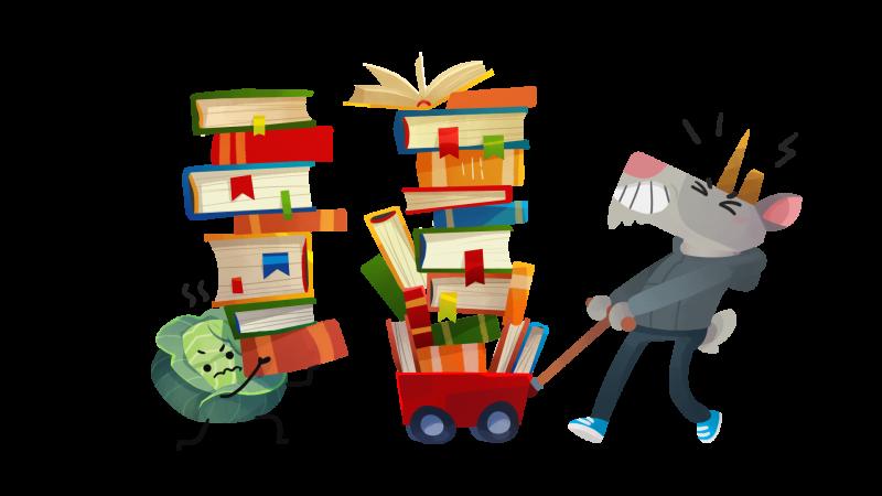 Маскоты Живого Журнала козел Фрэнк и Мистер Капуста возвращаются из научной библиотеки