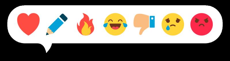 Семь распространенных реакций, для остальных эмоций есть комментарии :)