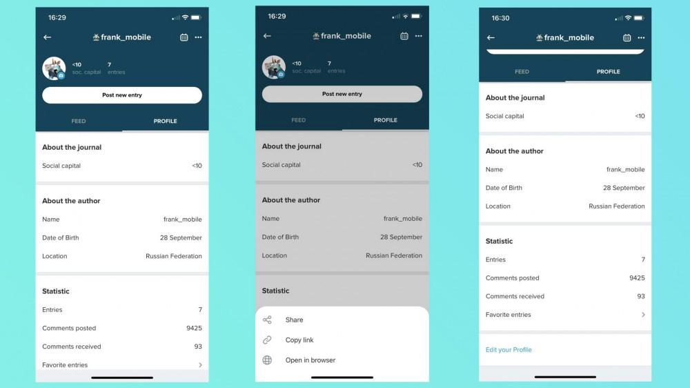 User profile in the LJ mobile app