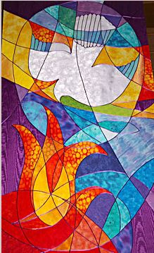 Stained glass banner, pentecost flame, dove www.bryn-im.orgpentecost.htm