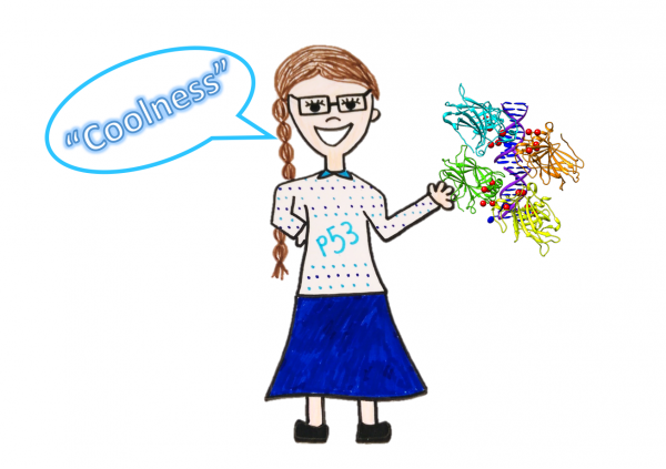 cartoon of Liv, with glasses, smile and long plait, wearing a shirt labelled p53, pointing to a molecular structure of p53 and saying coolness
