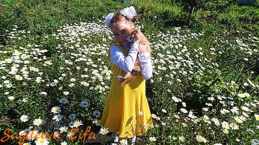 Дочь Эмилия, кот Малыш и ромашковое поле!)