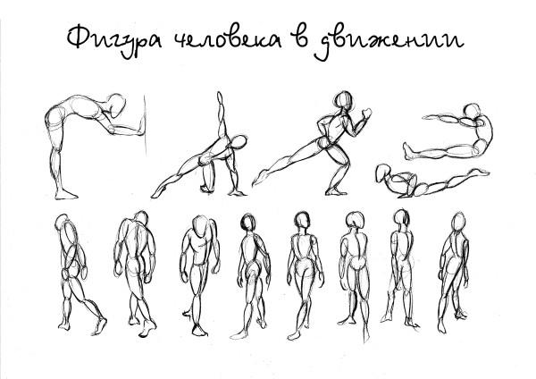 Рисунки человека в движении схема