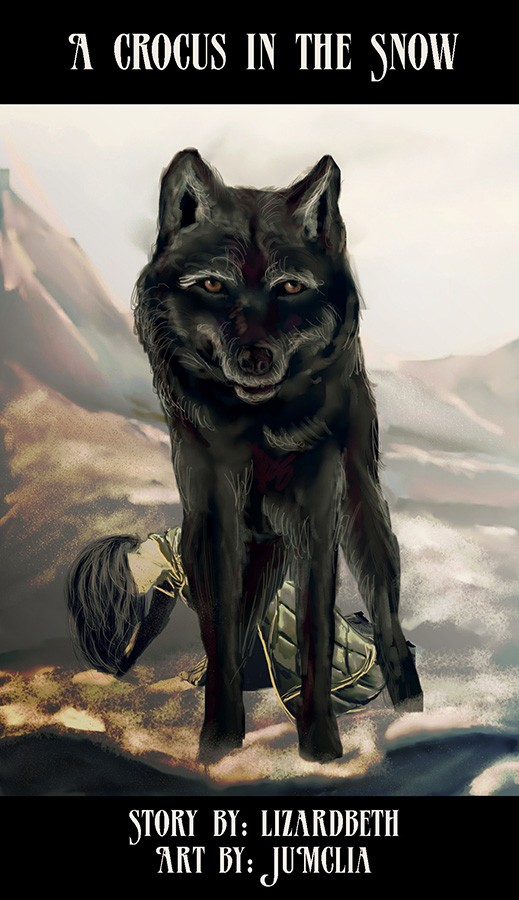A black wolf standing in front of young Loki, who has fallen to his knees