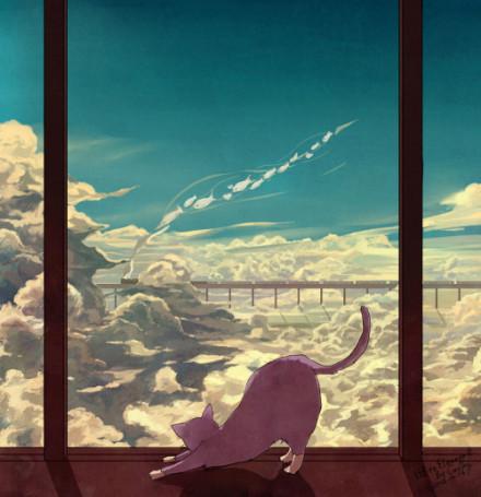 котик, облака, паровоз