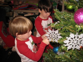 zane and jax decorating the tree