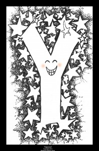 Coloring book art-- Y is for Yippee!