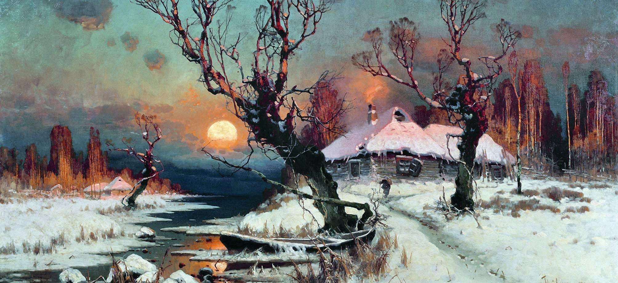 Клевер Юлий -  Закат солнца зимой. 1891
