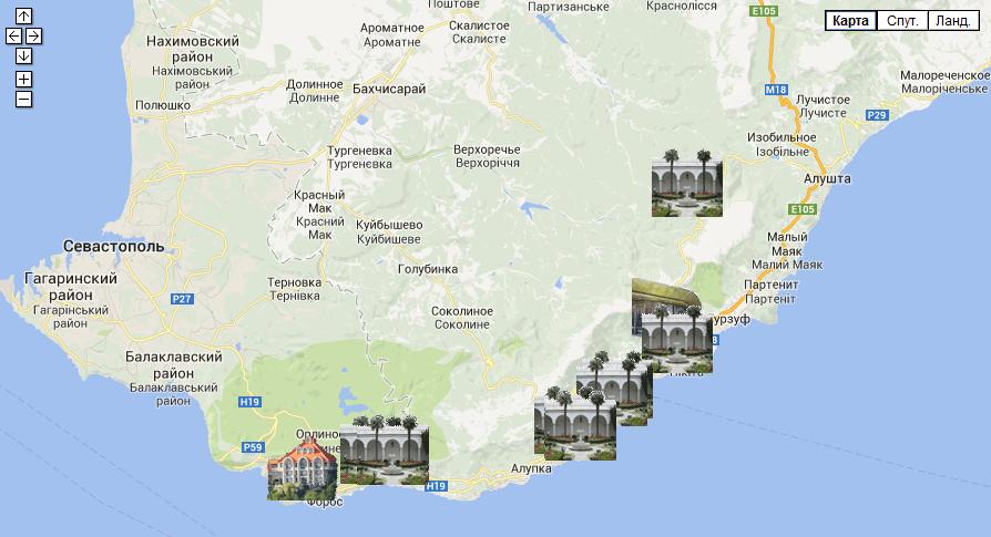 Карта госдач в Крыму
