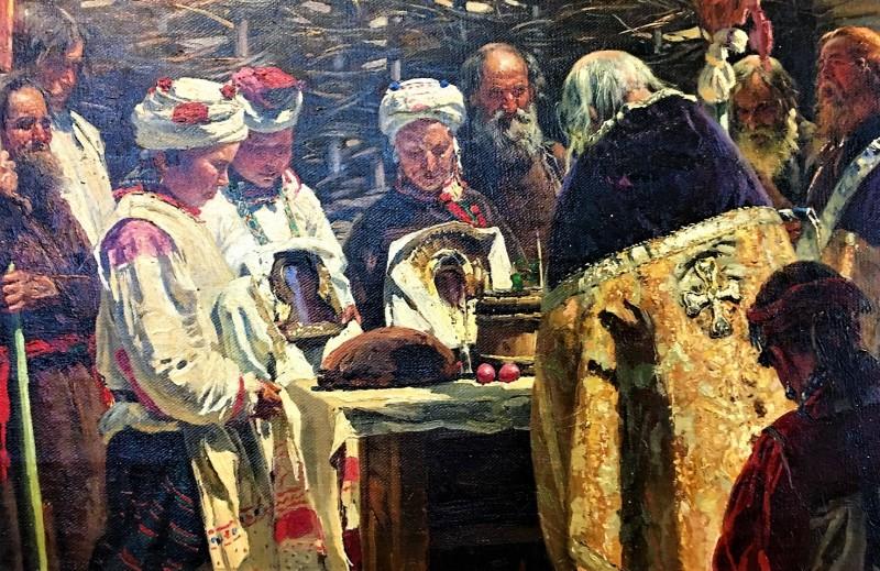 Пасхальный кулич на картине Владимира Маковского «Молебен на Пасхе» (1862, фрагмент)