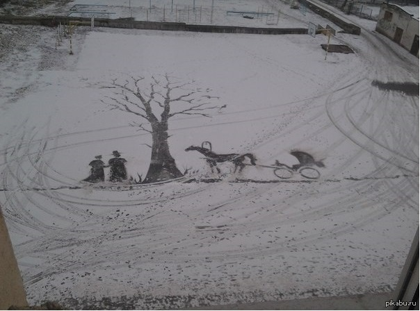 Метлой на снегу