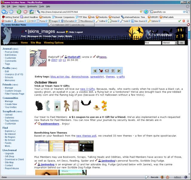 A screenshot of the Halloween 2007 skin.