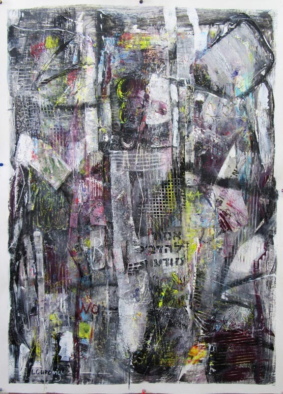 Series «Improvisations on paper», Composition №3, acrylic, collage, 100x70-222