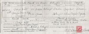 1897-12 - George, Georgina Ward wedding certificate