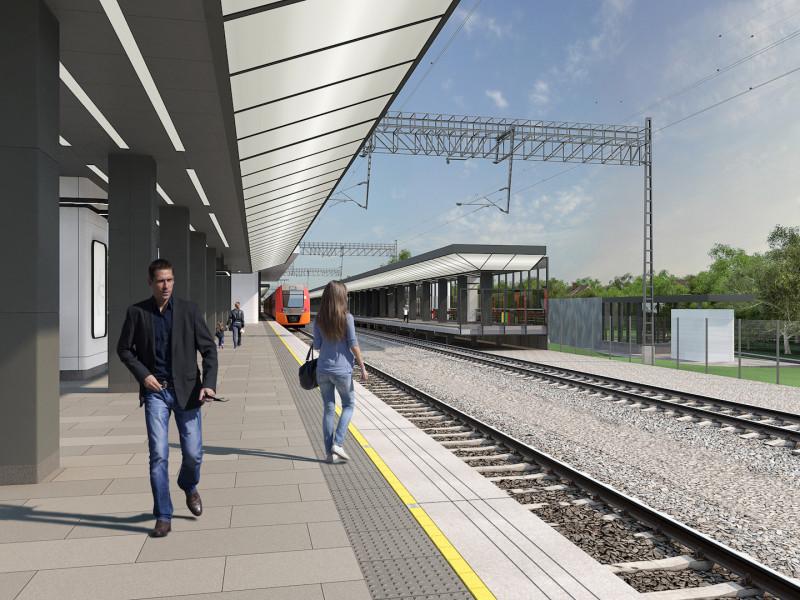 26. Проект платформы Баковка. Северная платформа, вид на южный выход. ООО «Проинжиниринг». 2019 год