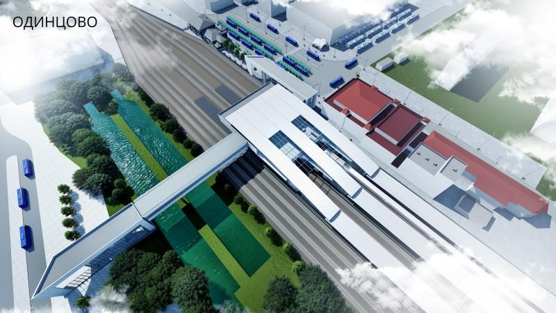 33. Проект платформы Одинцово. Общий вид с юга на север. Архитектурное бюро Тимура Башкаева. 2019 год