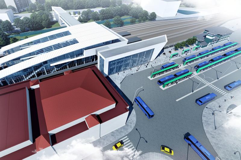 32. Проект платформы Одинцово. Общий вид с севера на юг. Архитектурное бюро Тимура Башкаева. 2019 год