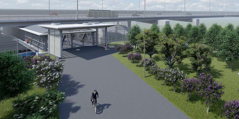 11. Проект пешеходного моста под СВХ (трасса М-11) над главными путями Ленинградского направления. 2018 (?)