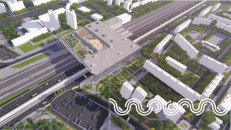 20. Проект платформы Выхино. Общий вид с севера на юг. 2018 (?) год