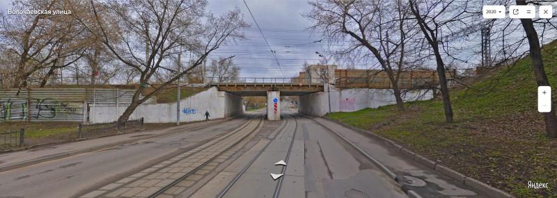 15. Путепровод через Волочаевскую улицу. Здесь построят новый путепровод. Фото — Яндекс-Панорамы. 2020 г.