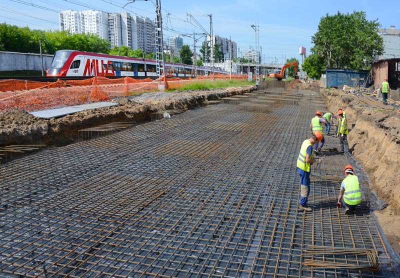 11. Строительство платформы Марьина роща. Фото — пресс-служба Московской железной дороги. 2020 год
