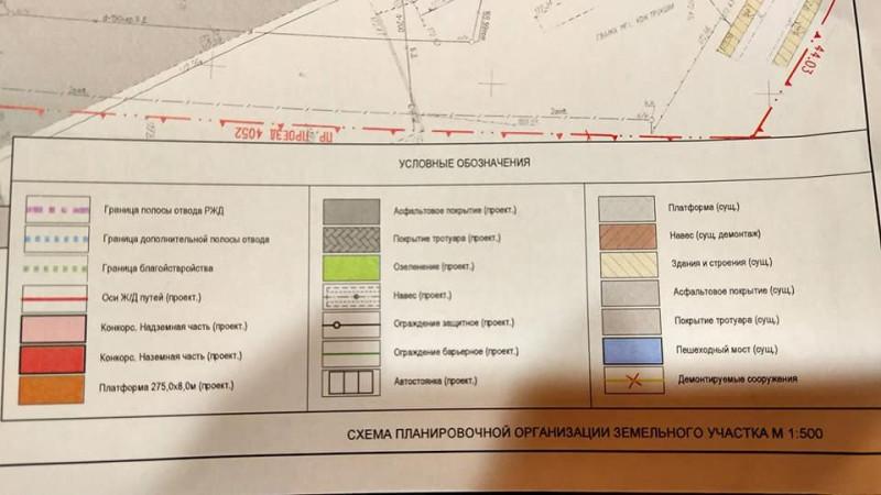 17. Проект реконструкции платформы Бескудниково. Условные обозначения. 2020 год