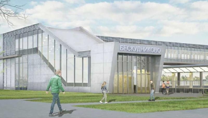 18. Проект реконструкции платформы Дегунино. Вид на западный выход. 2020 год