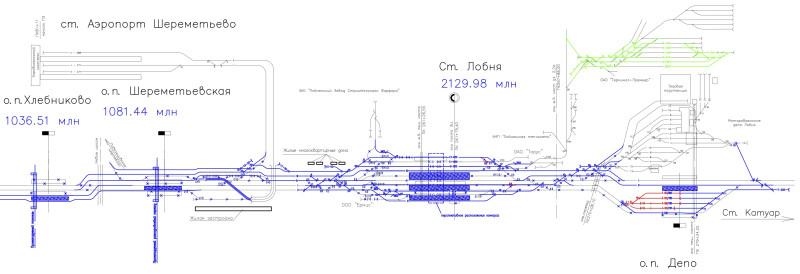 11. Фрагмент схемы переустройства путей в рамках проекта первого Московского Центрального Диаметра. 2018